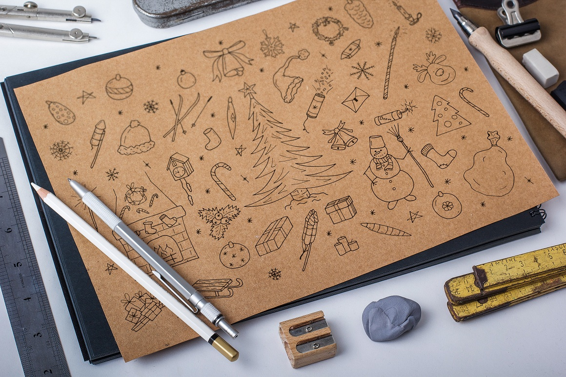 Hand drawn christmas elements set. example image 1