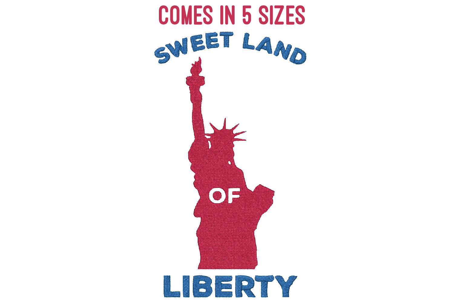 Sweet land of liberty| Independence day | Machine embroidery example image 1