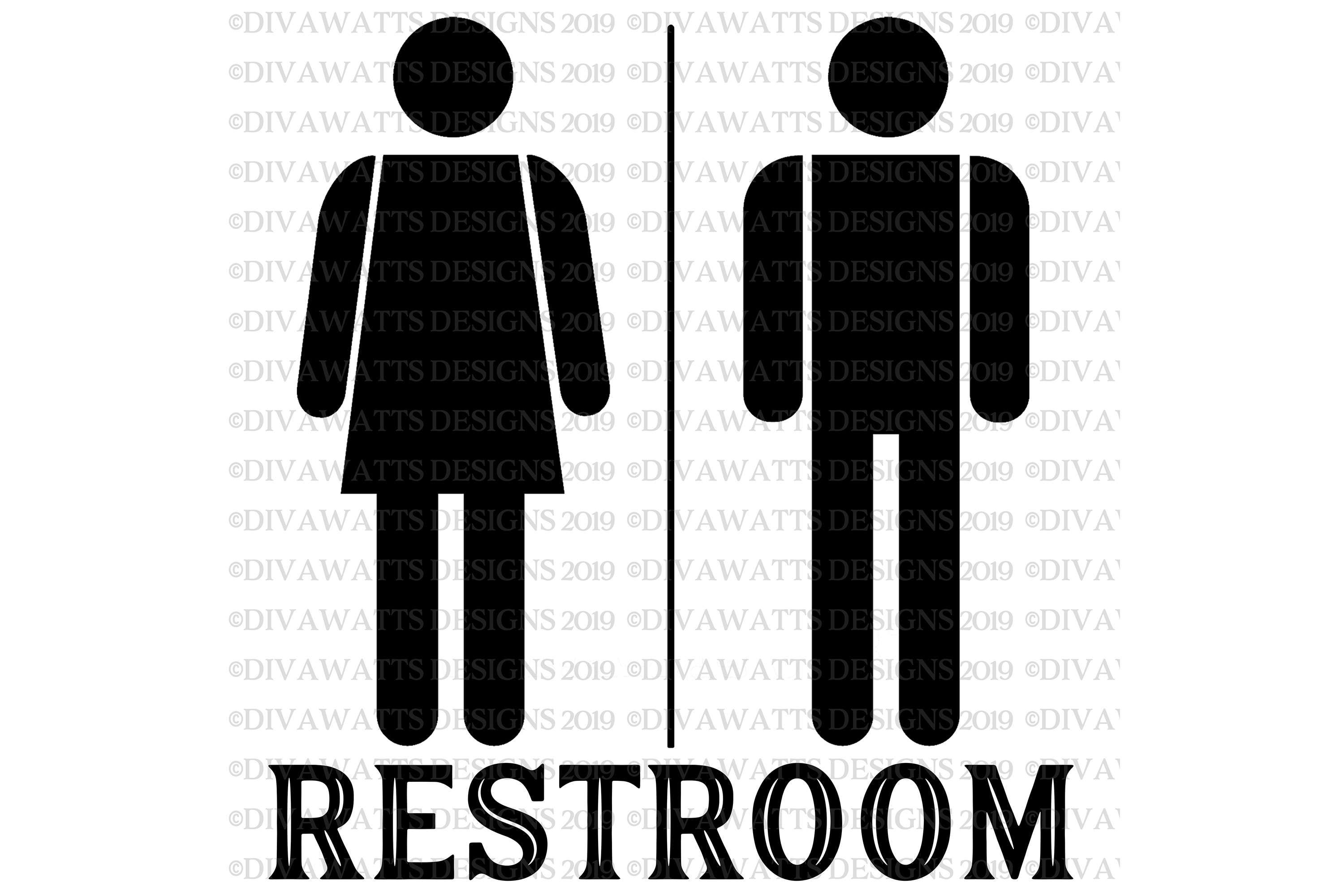 Restroom With Woman Man Figures People - Farmhouse Sign SVG example image 3