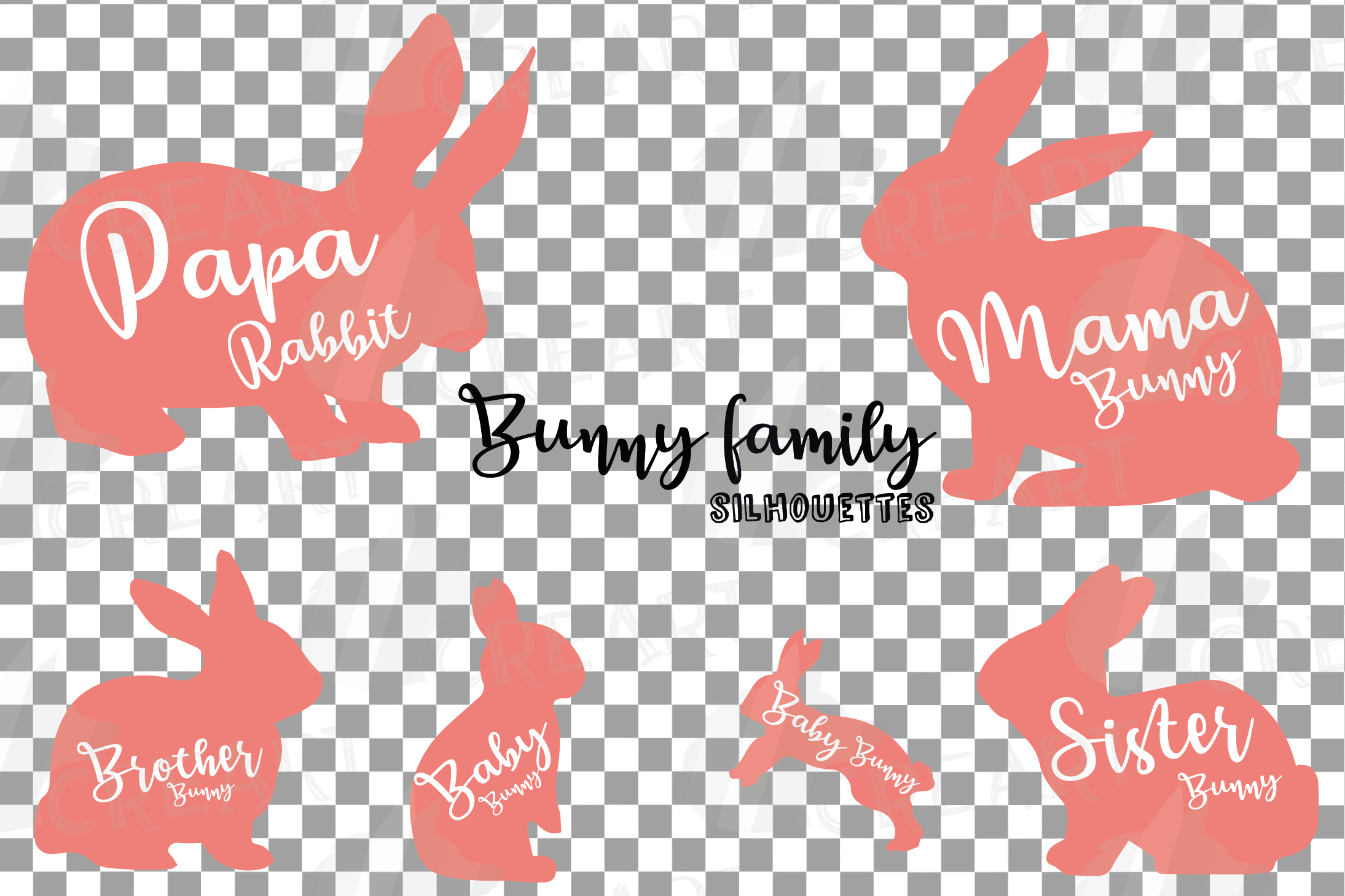 Rabbit family silhouettes, bunny silhouette svg cutting file example image 6
