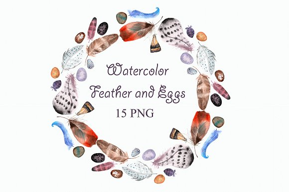 Watercolor Feathers & Eggs Clip Art example image 1