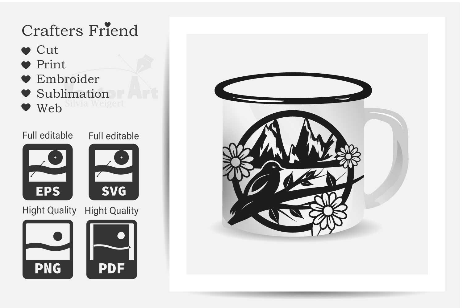 Spring in the Mountains - Cut File for Crafter example image 4