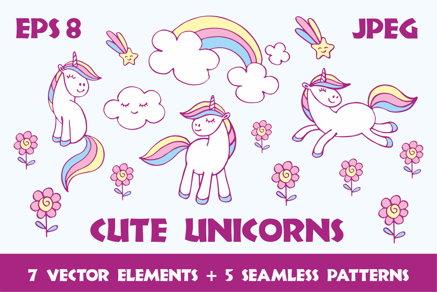 Cute unicorns. Vector elements and patterns. example image 1