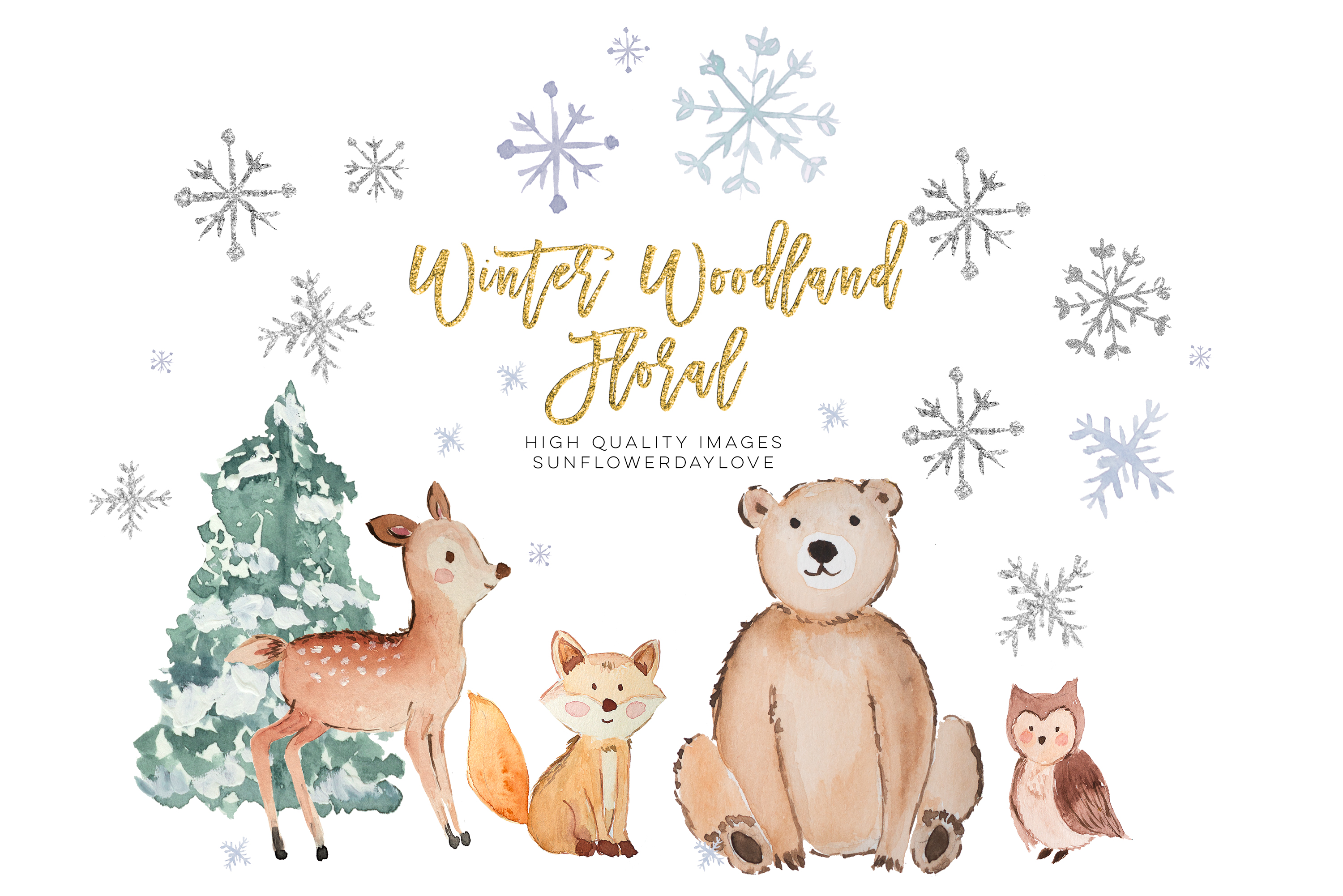 Winter Woodland Animals Clipart, Watercolor Forest Animals example image 3