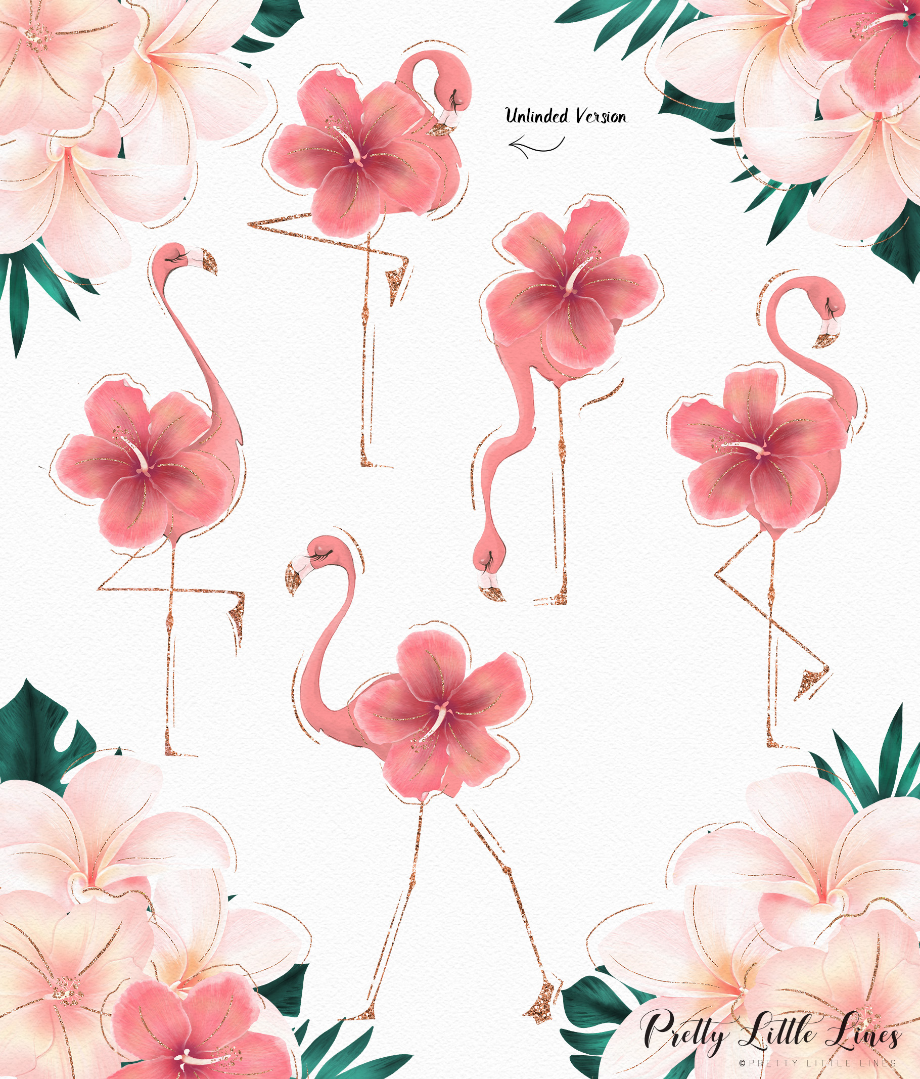Tropical Flowers & Flamingos example image 11