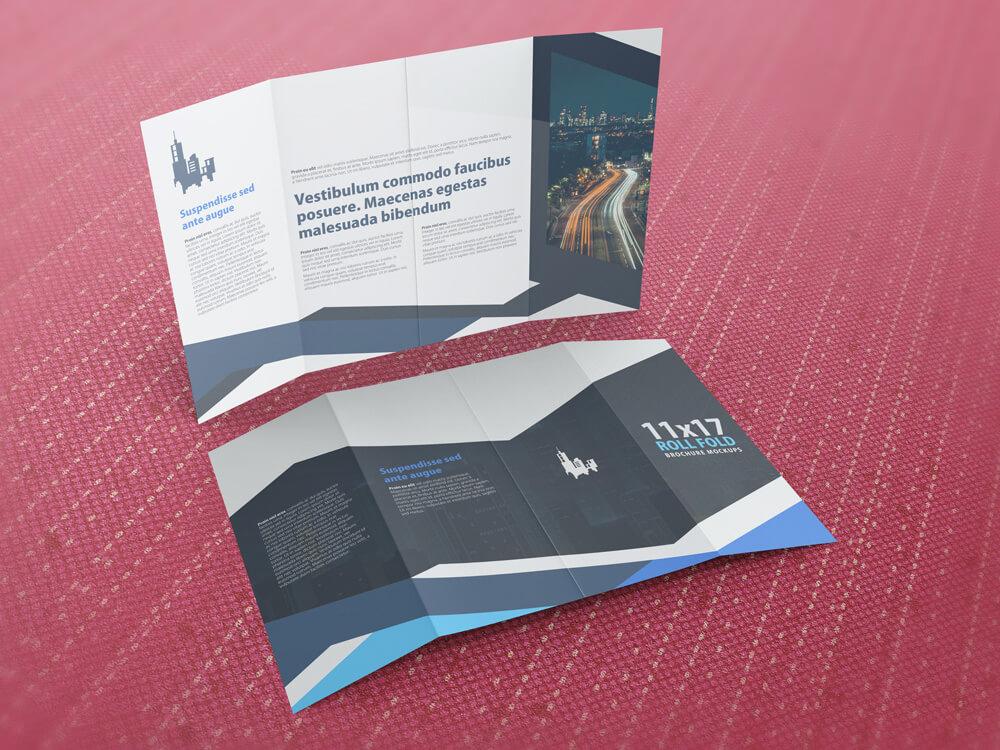 11x17 Four Panel Roll Fold Brochure Mockup example image 2