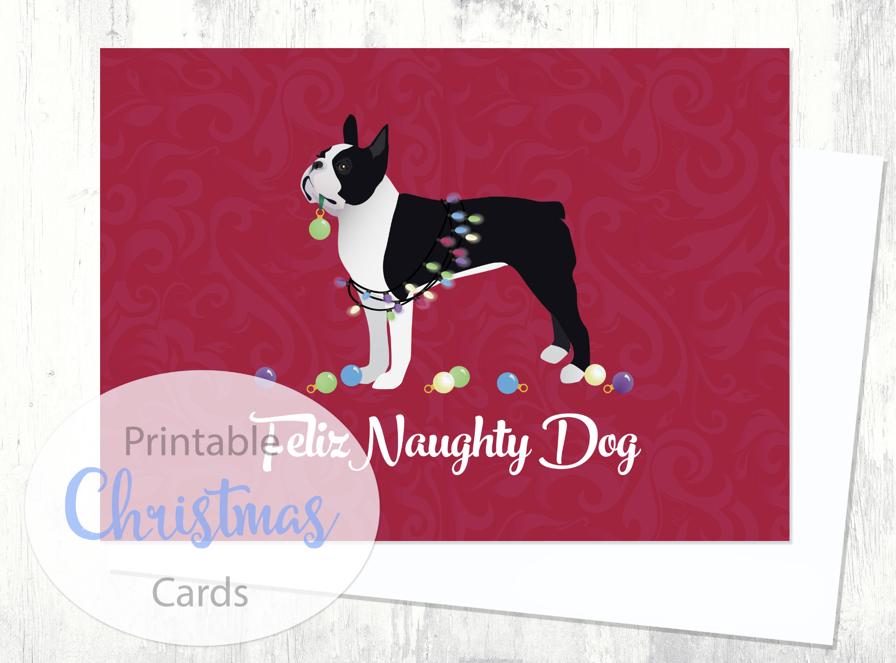 Boston Terrier Black Dog Christmas Card From The Breed Collection