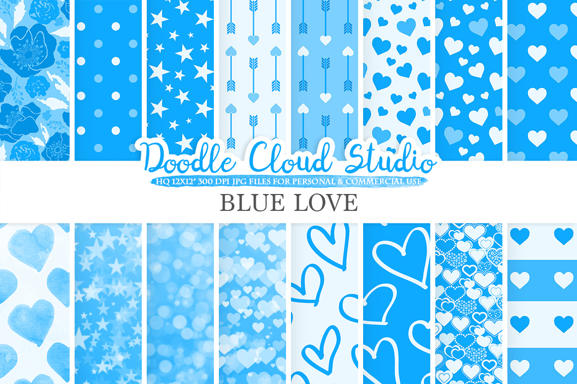 Blue Romantic digital paper,Valentine's day patterns  Love Roses Romance Heart Bokeh background, Instant Download, Personal & Commercial Use example image 1