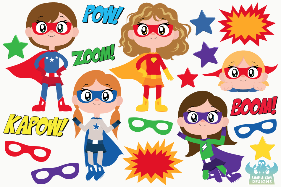 Superhero Girls 2 Clipart, Instant Download Vector Art example image 2