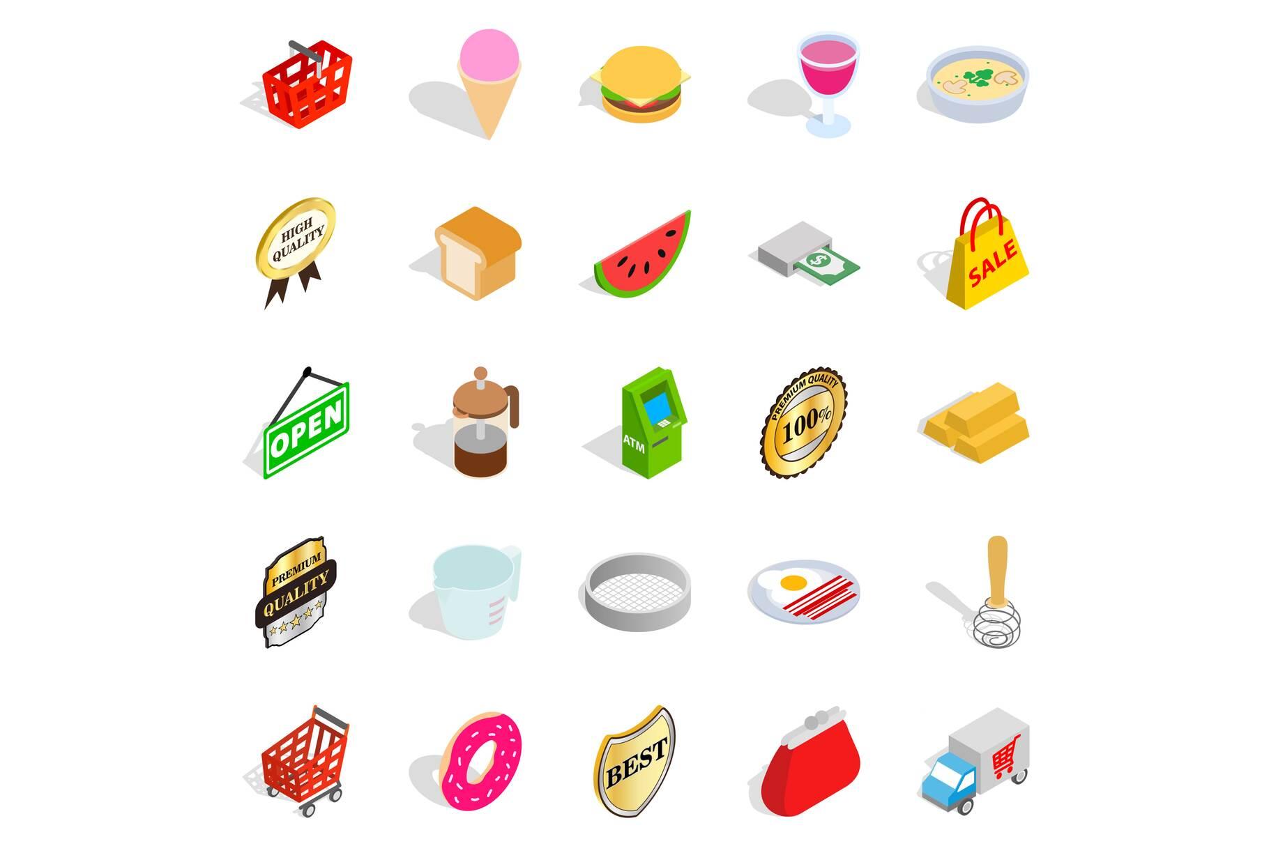Eatery icons set, isometric style example image 1