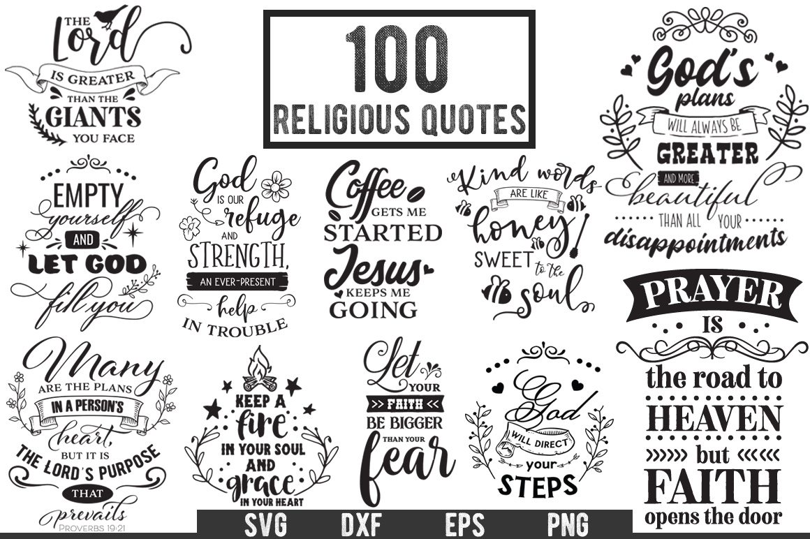 100 Religious Quotes Cut Files Pack example image 1