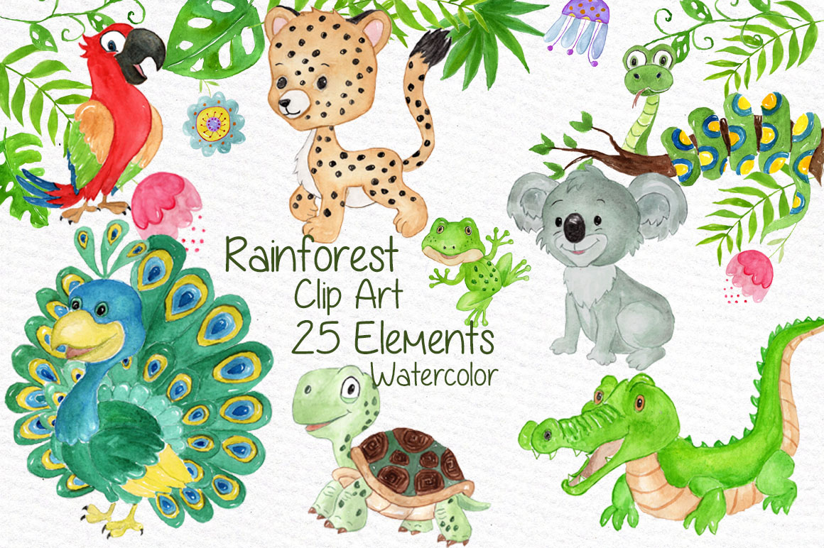 Watercolor animals clipart example image 1