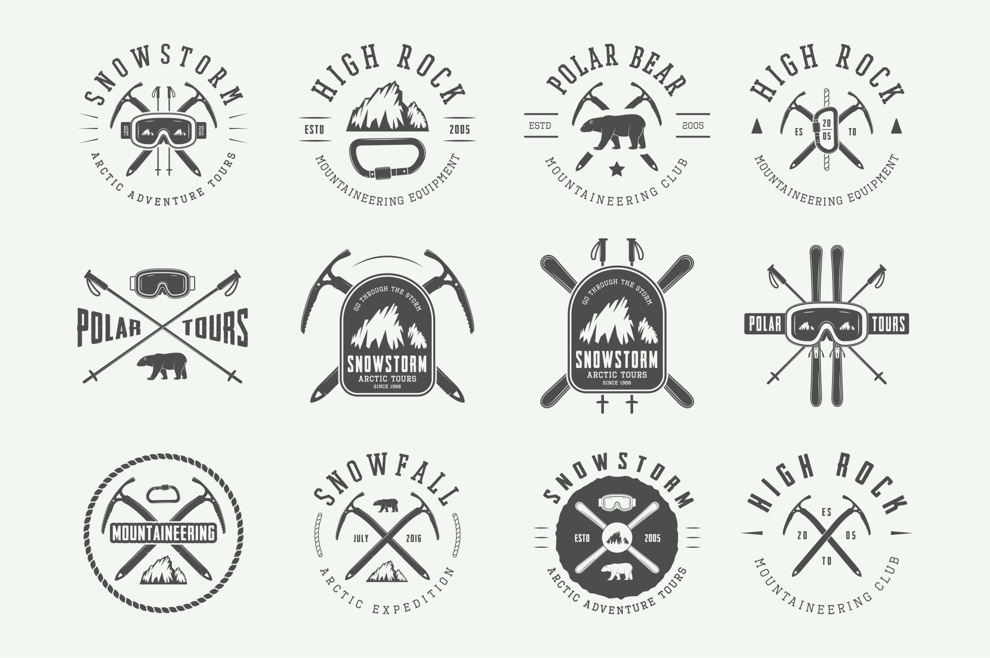 Winter vintage adventure emblems. example image 6