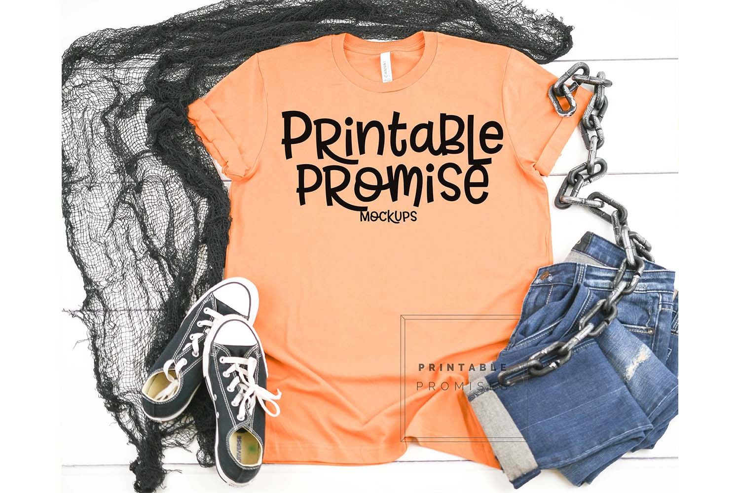 Halloween Shirt Mock UP Bella Canvas 3001 Burnt Orange Shirt example image 1