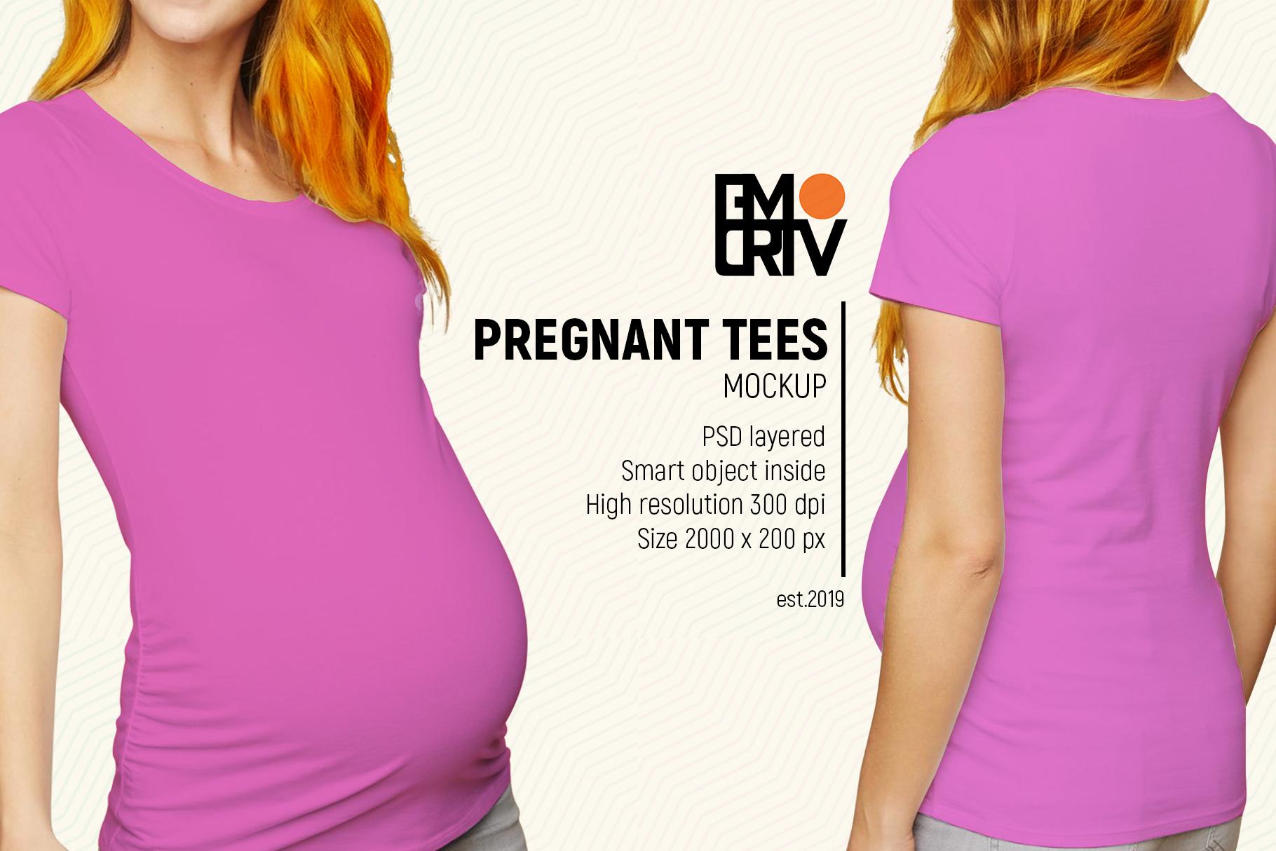 Pregnant Tees Mockup example image 3