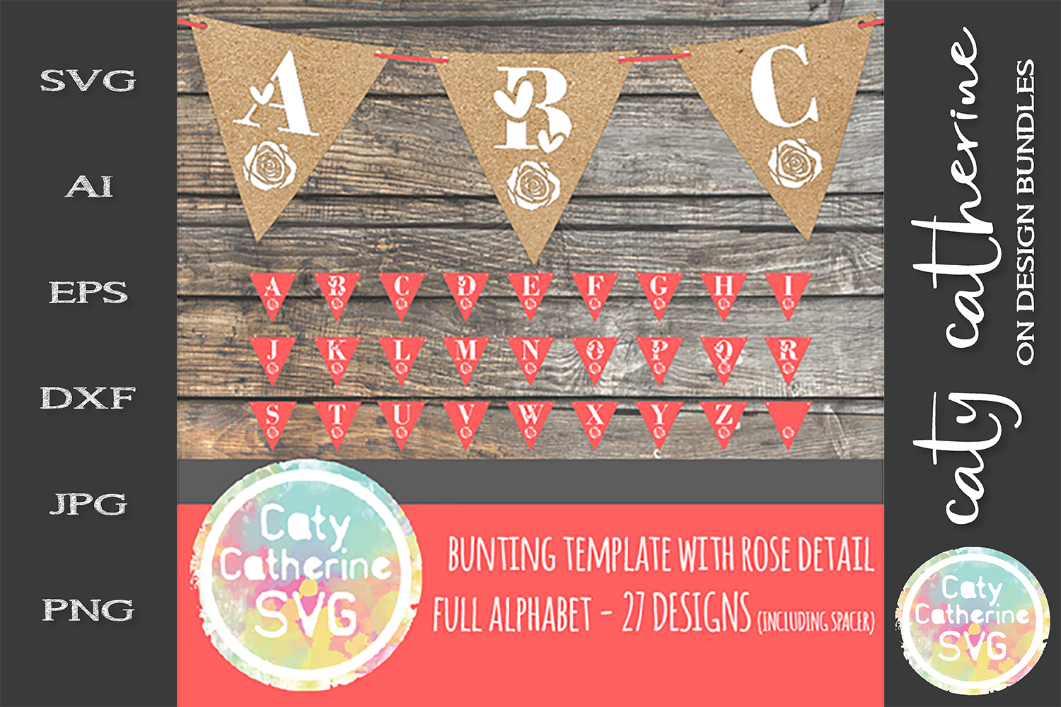 Bunting Template SVG with Rose Detail Full Alphabet A-Z example image 1
