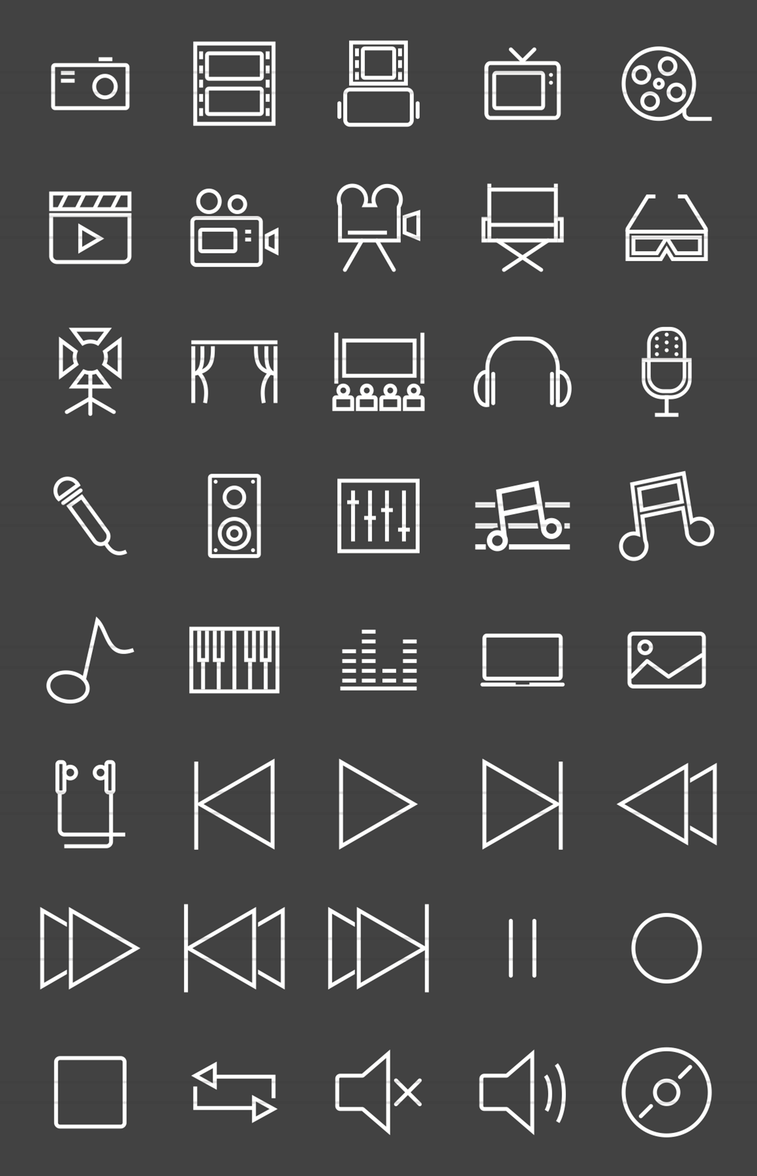 40 Multimedia Line Inverted Icons example image 2