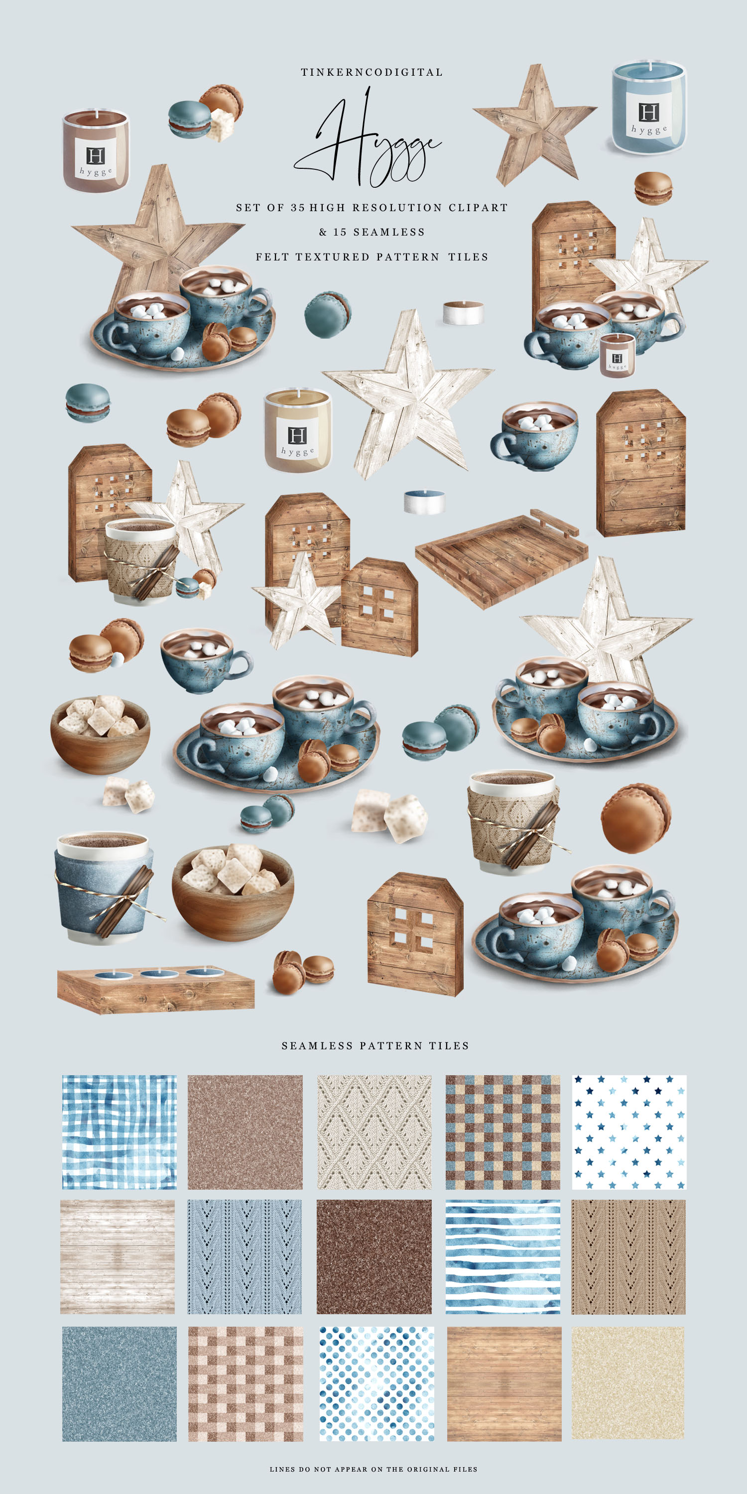 Hygge Clipart and Seamless Pattern Paper Sublimation designs example image 6