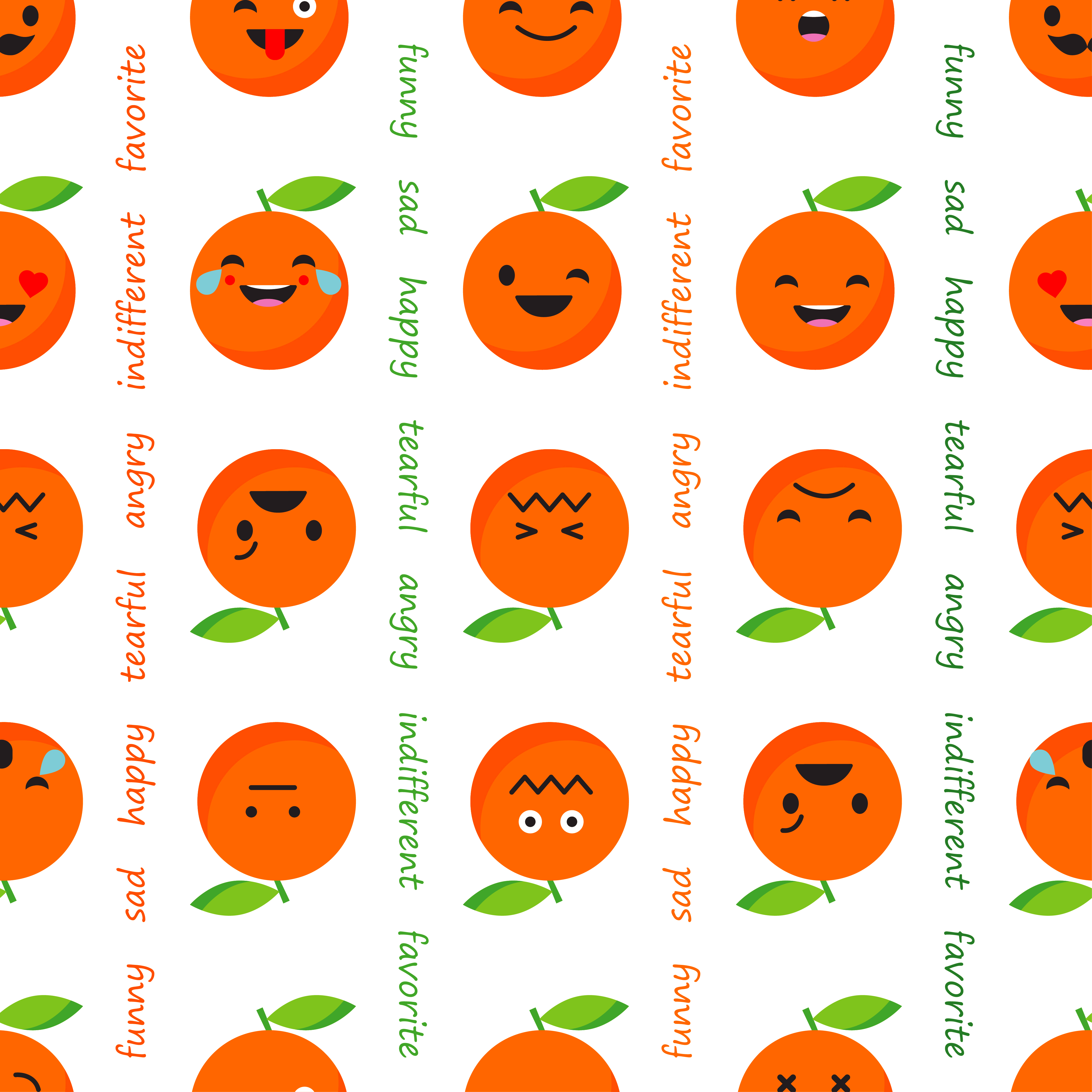 Seamless background with Orange emotions. Vector illustration.  example image 1
