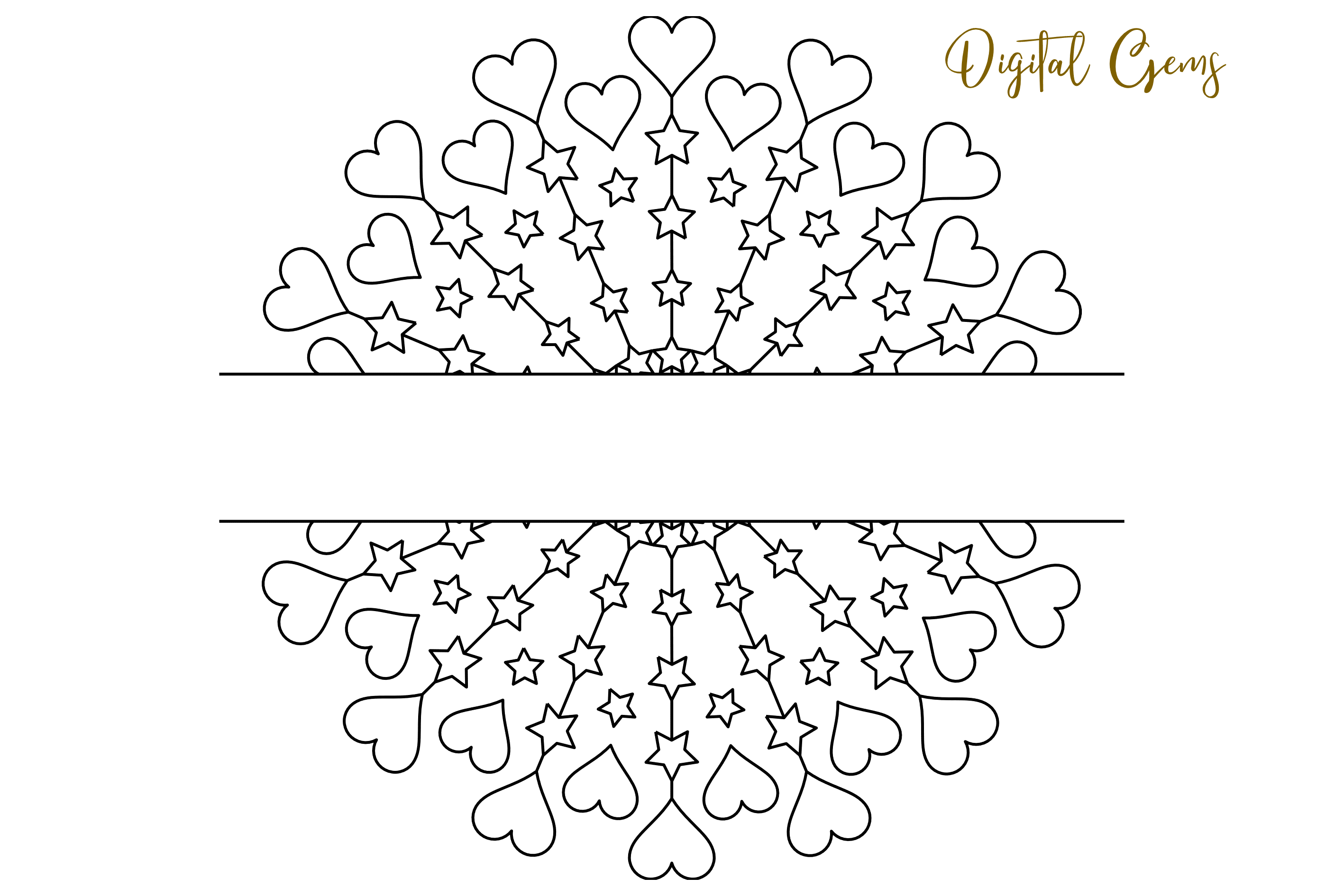 Heart and star mandala, single line sketch / foil quill file example image 7