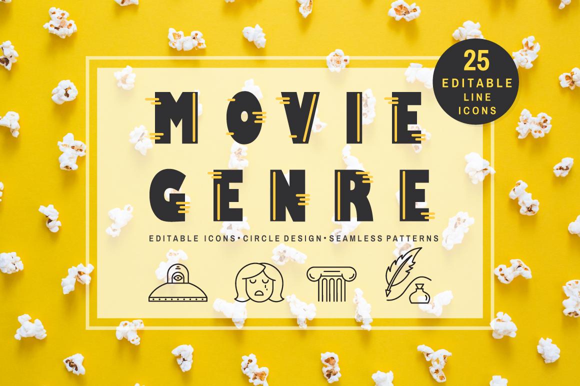 Movie Genre - editable line icons example image 1