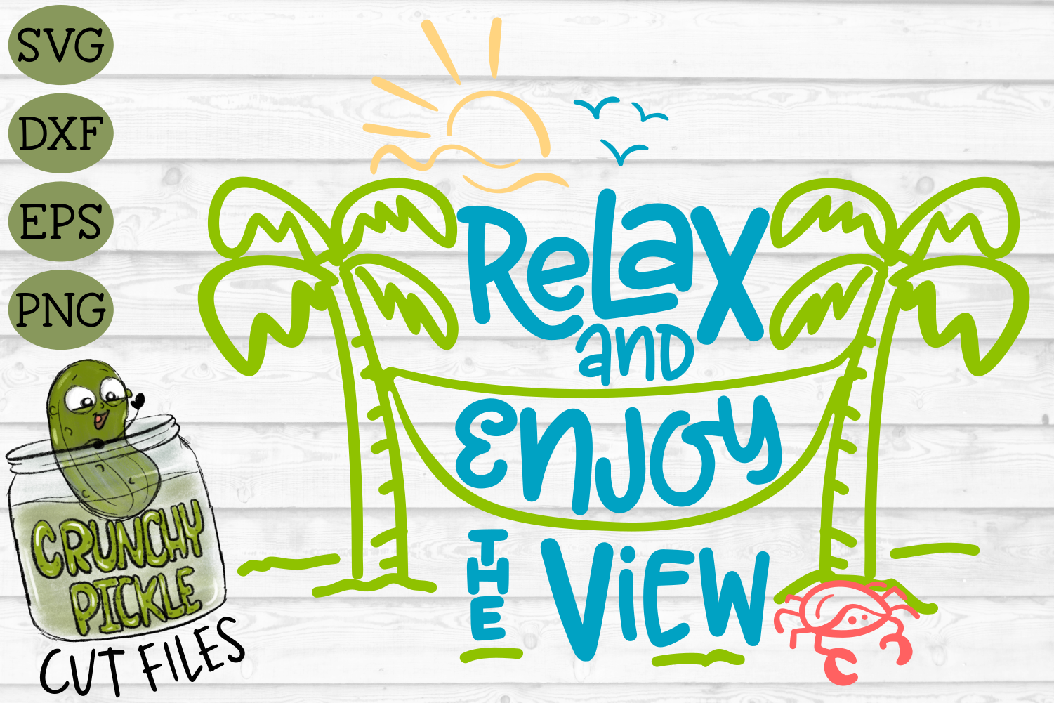 Relax and Enjoy the View Beach Hammock SVG Cut File example image 2