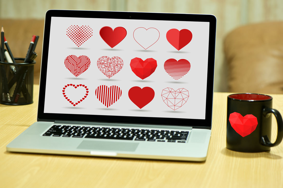 Heart icons set in different styles example image 5