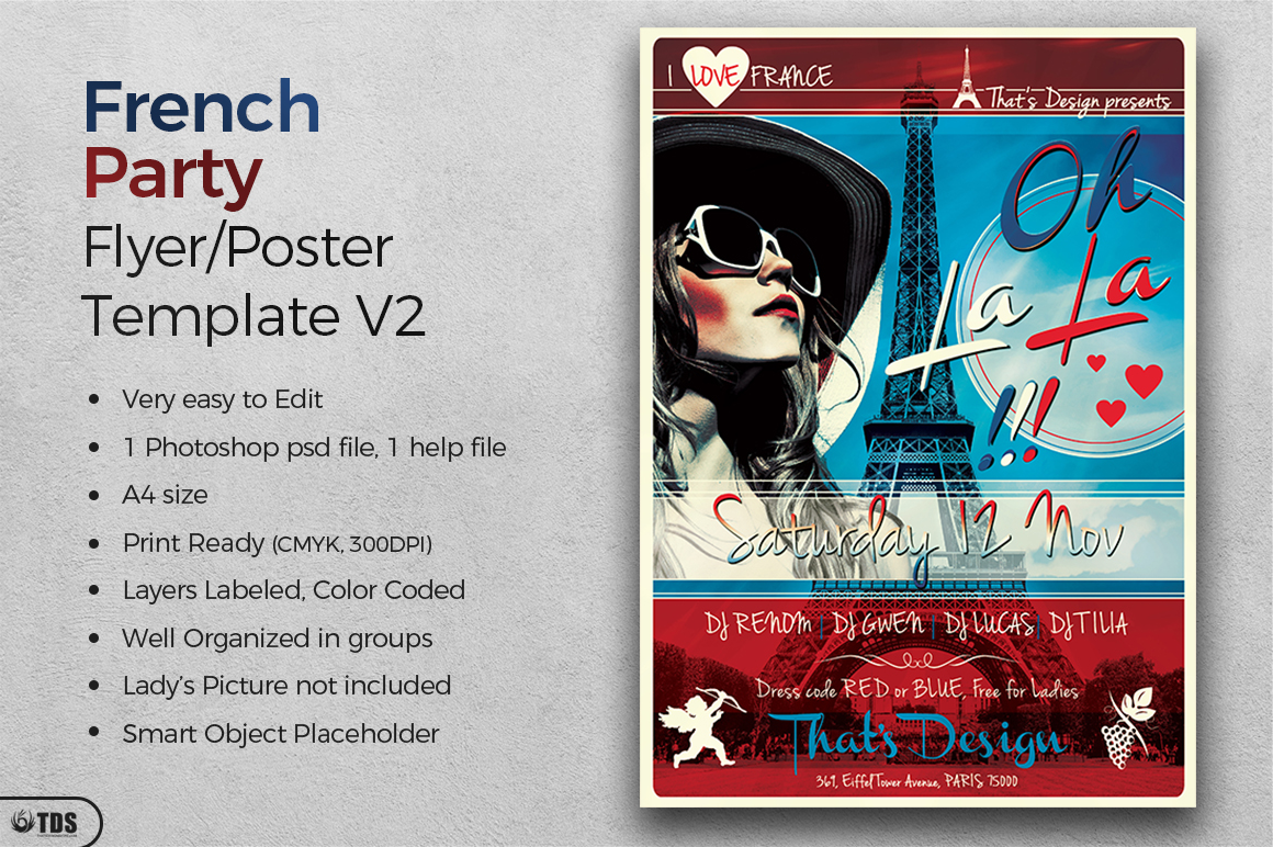 French Party Flyer Template V2 example image 2