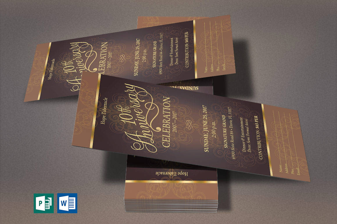 Church Anniversary Publisher Word Ticket Bundle example image 3