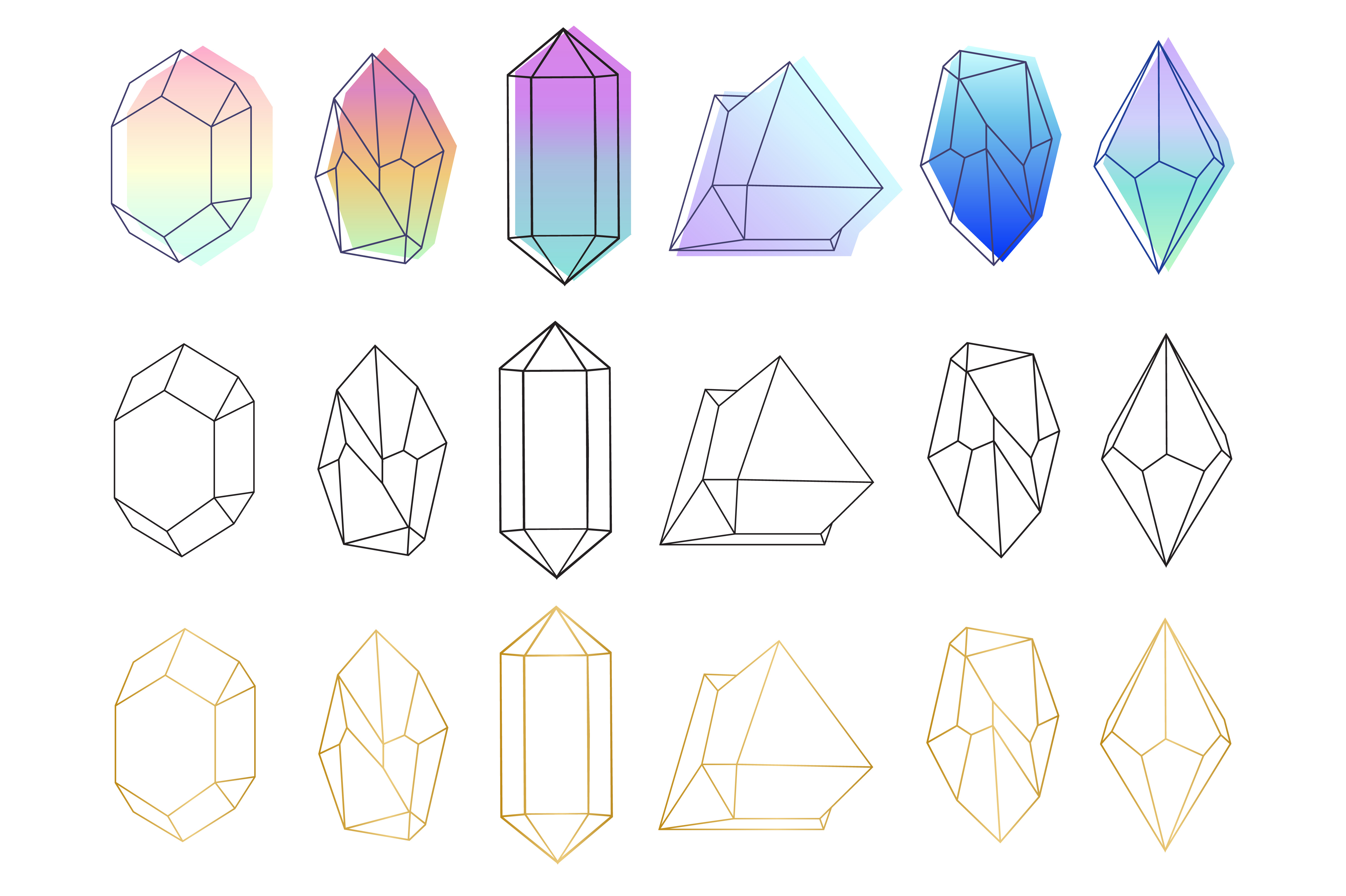 Crystals Set Neon Gold Black - Ai Eps Png example image 2