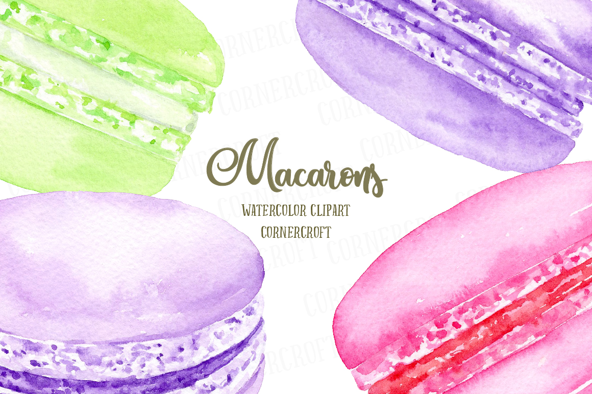 Watercolor Macaron Illustration example image 8