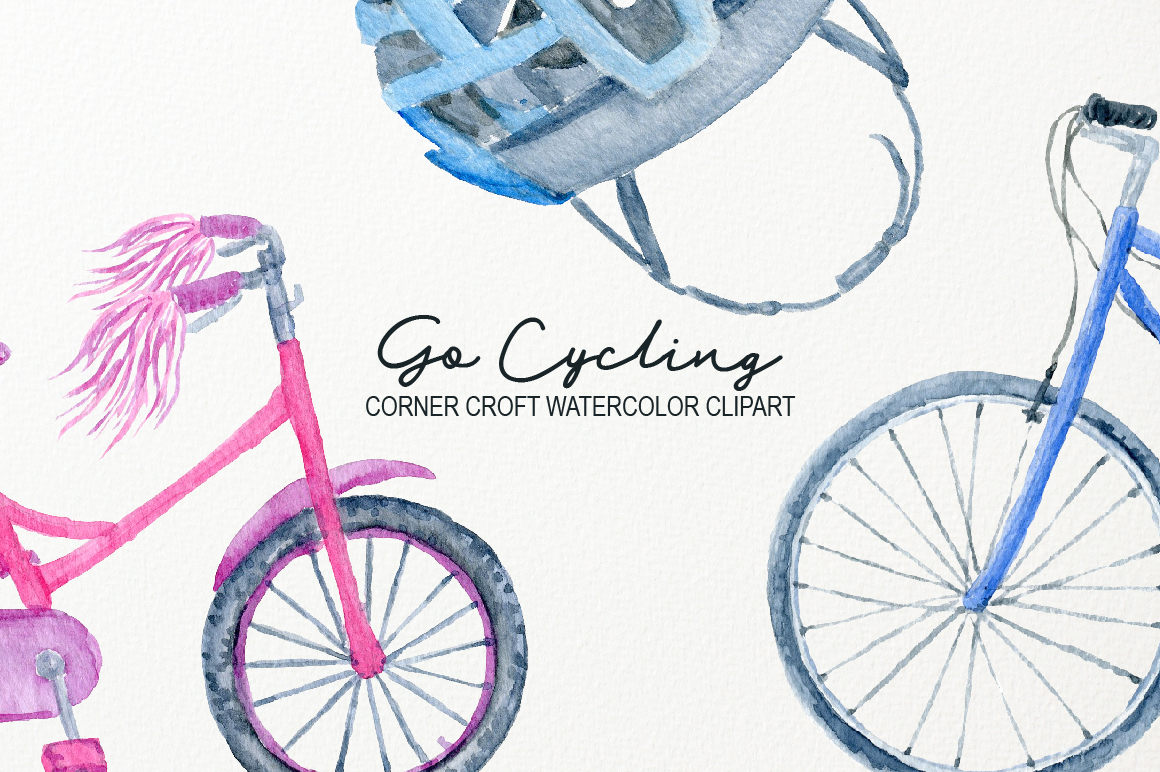 Watercolor Cycling Clipart example image 4