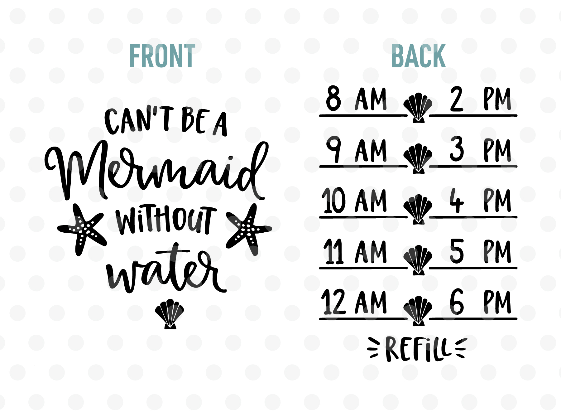 Cant Be a Mermaid without Water SVG, EPS, PNG, DXF example image 2