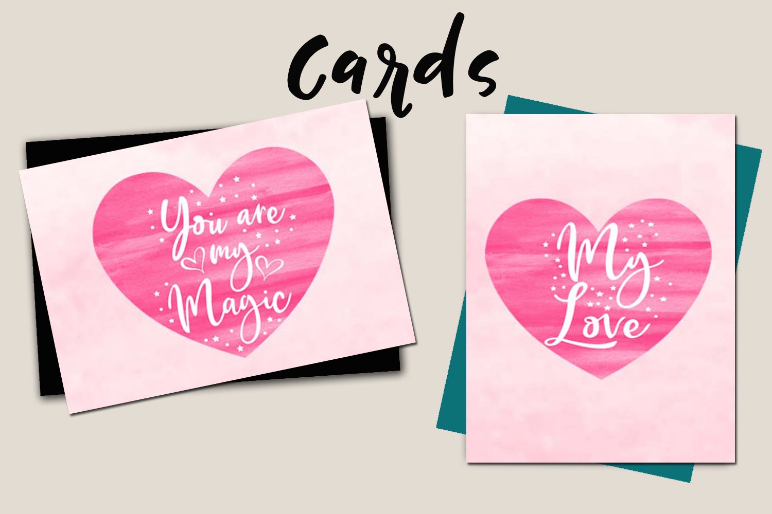 Valentines Day Cards-Posters-Tags-Heart Overlay Cliparts example image 6