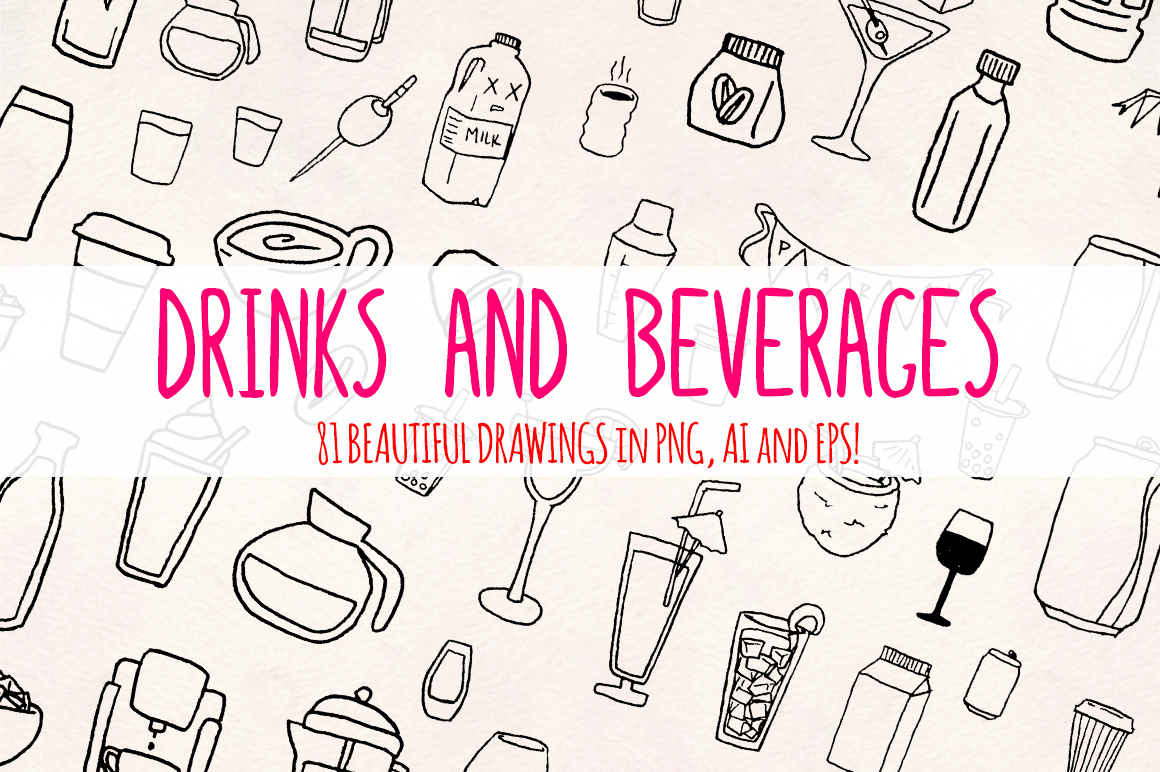 Drinks and Beverages 81 Hand Drawn Vector Graphics example image 2