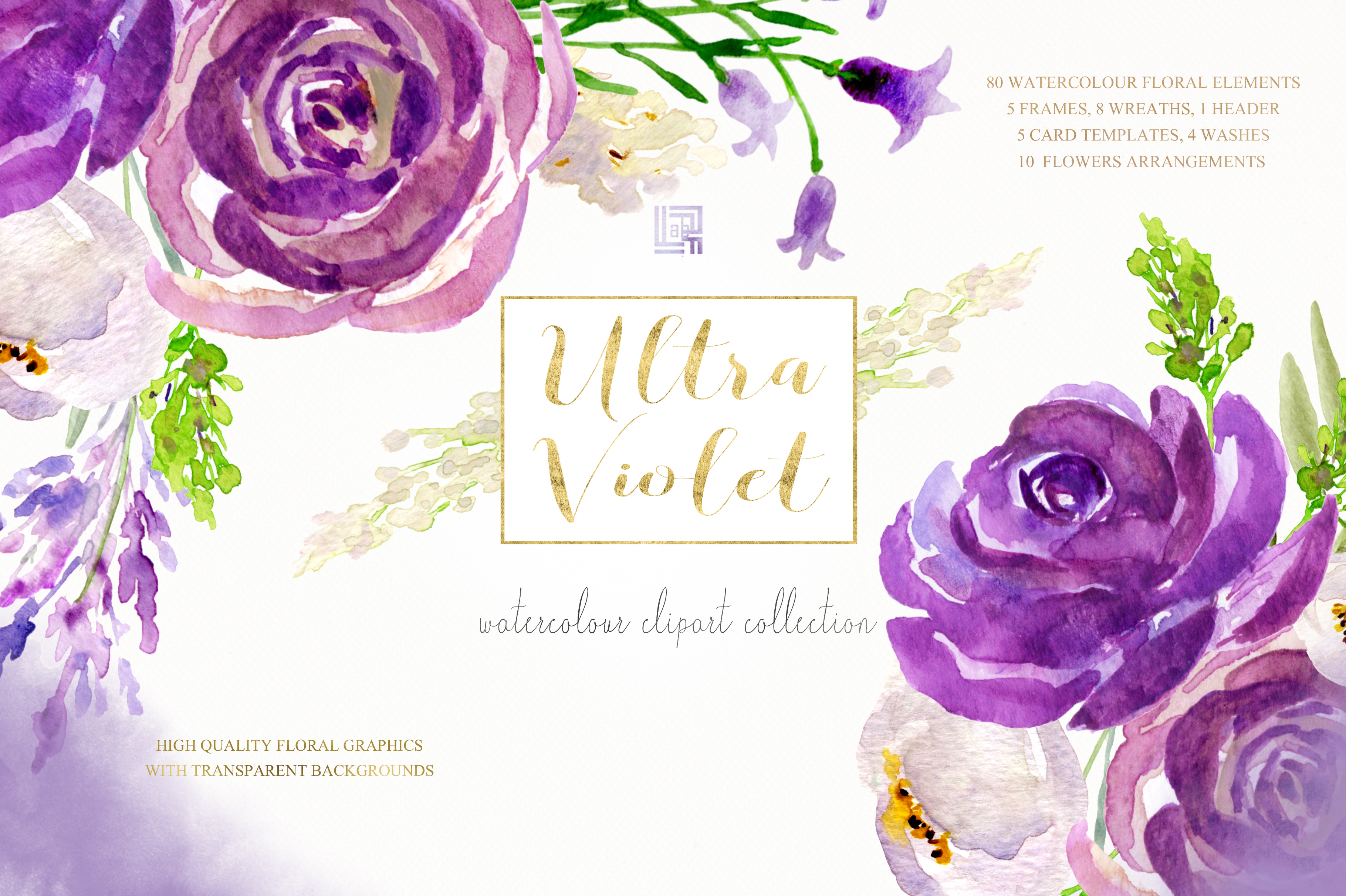 Ultra violet watercolor flowers example image 7
