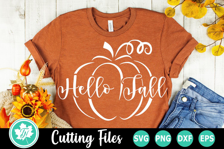 Hello Fall Pumpkin - A Fall SVG Cut File example image 1