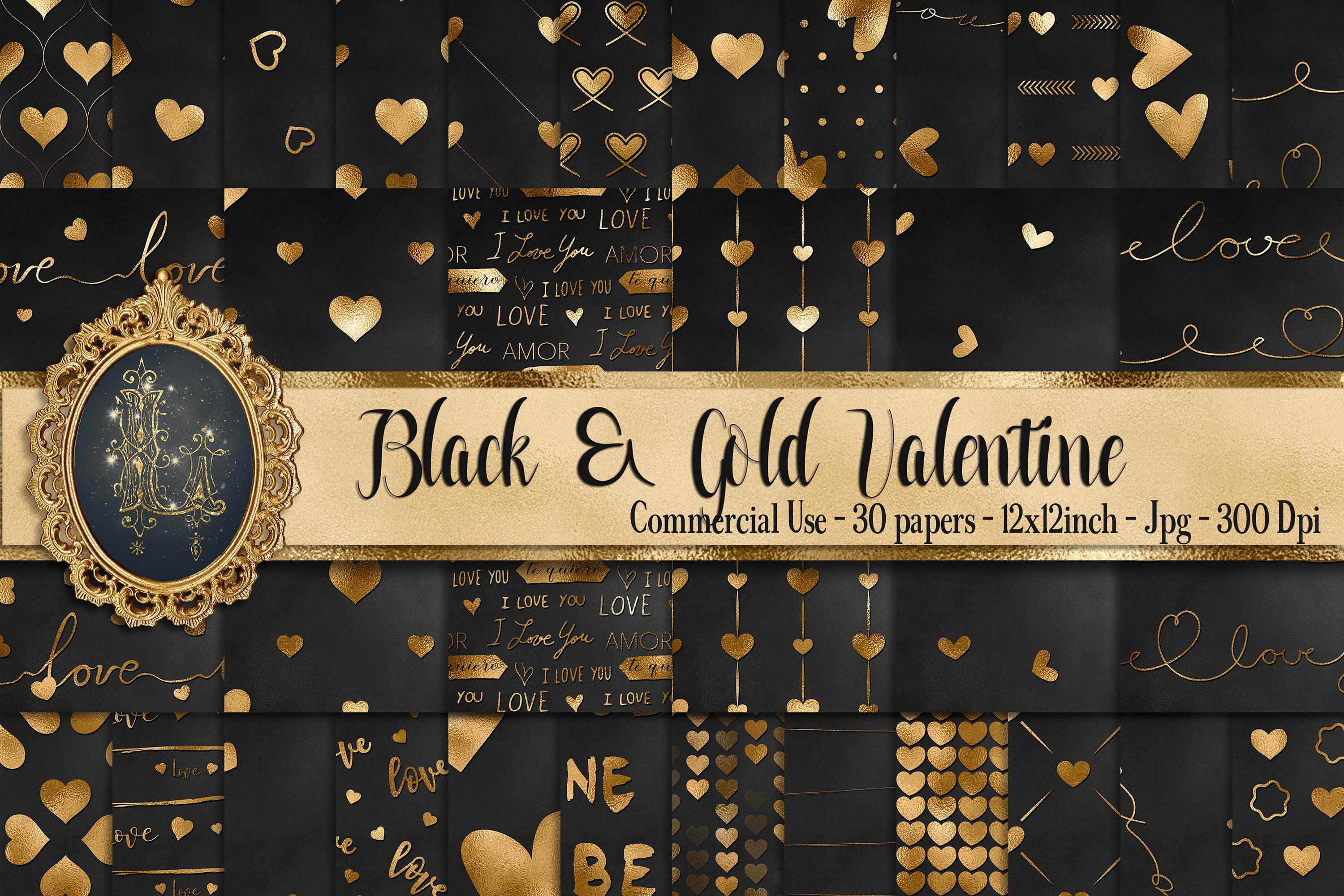 30 Black and Gold Valentine Love Heart Digital Papers Card example image 1