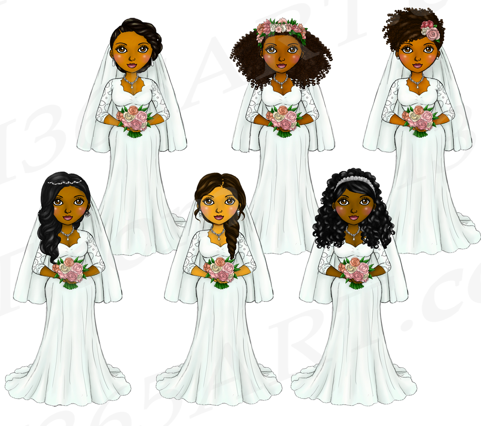 Bride Clipart Wedding Girls, Natural Hair Fashion Dolls, PNG example image 3
