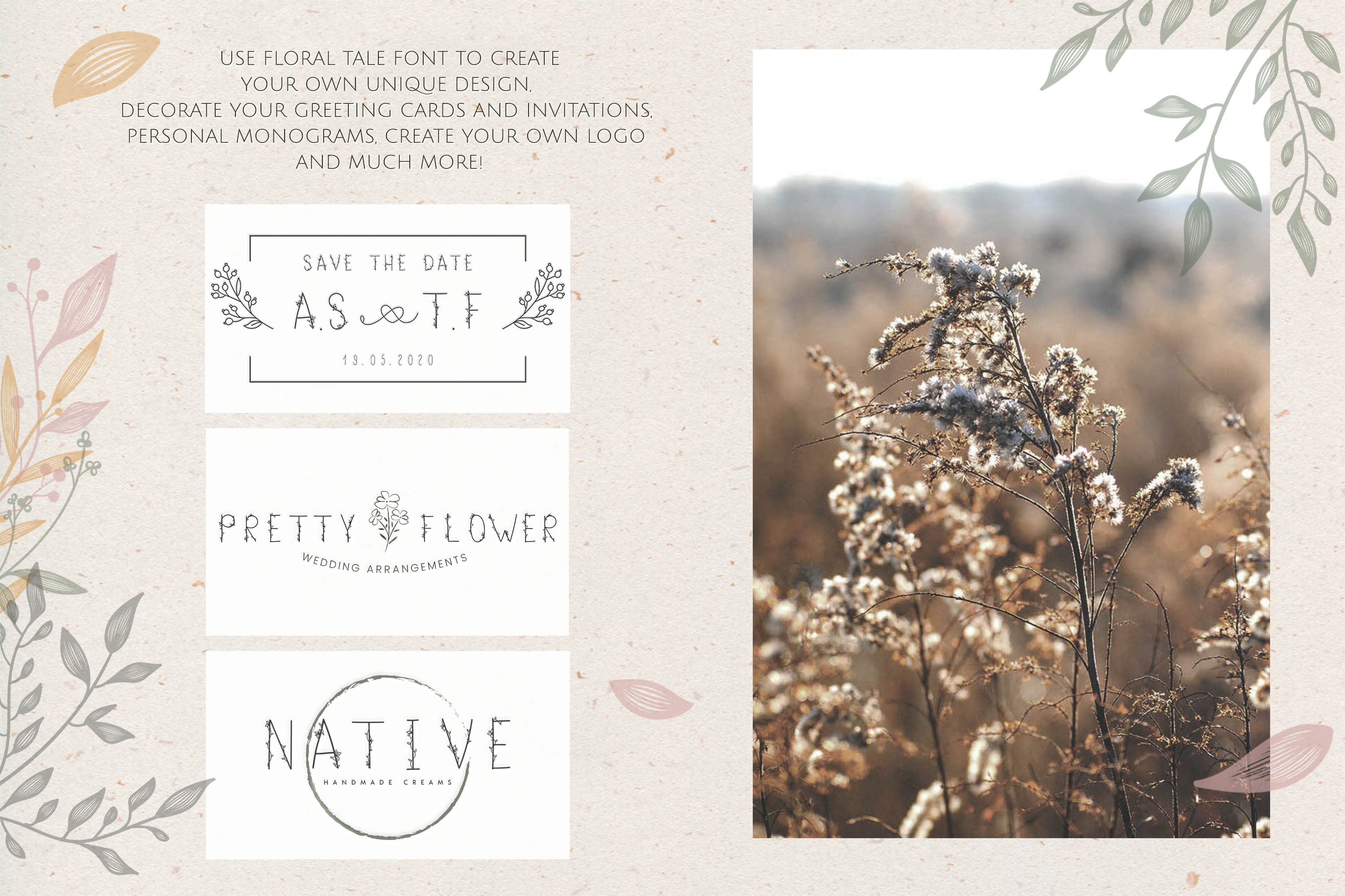 Flower Tale - Handwritten Floral Font example image 5