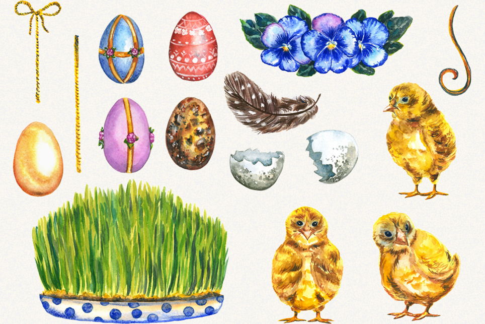 Easter Clipart, watercolor easter clipart, easter egg example image 3