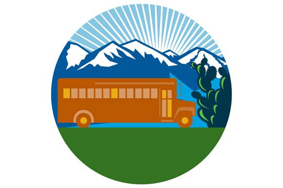 School Bus Vintage Cactus Mountains Circle Retro example image 1