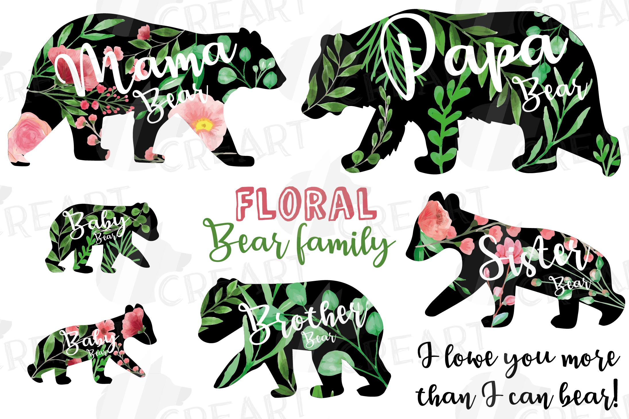 Floral bear family, sister, brother, baby, papa and mama example image 1