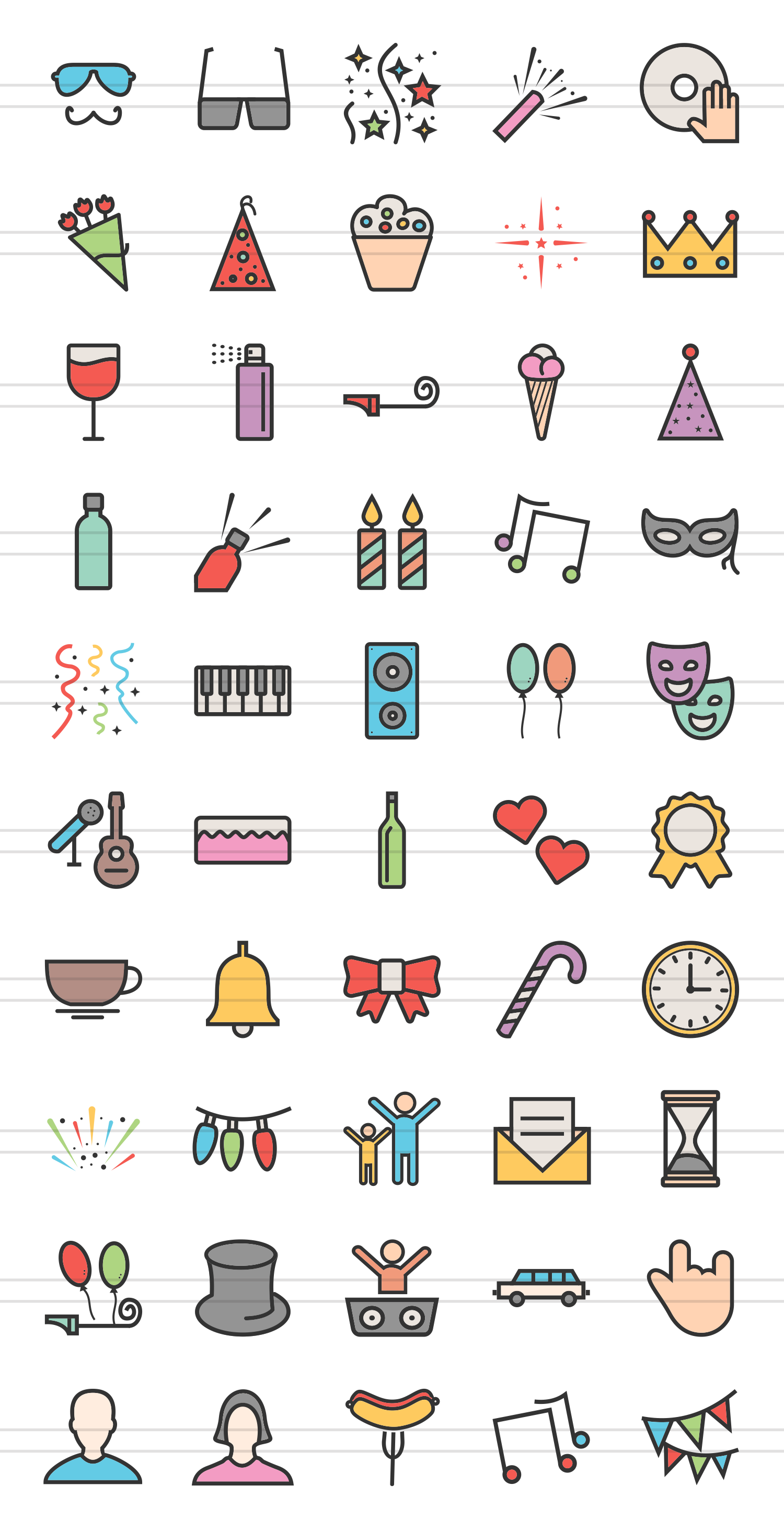 50 Party Linear Multicolor Icons example image 2