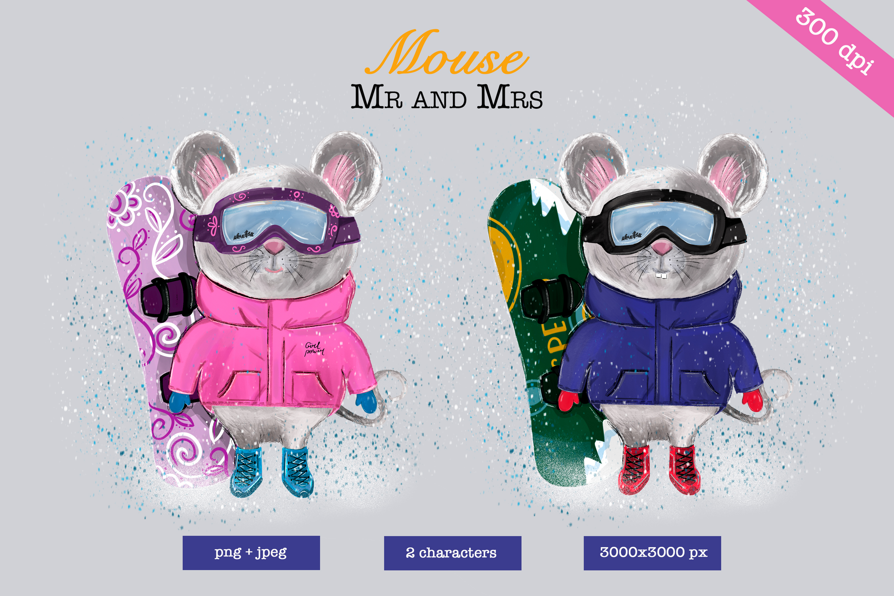 Rat boy and rat girl snowboarder clip art example image 1
