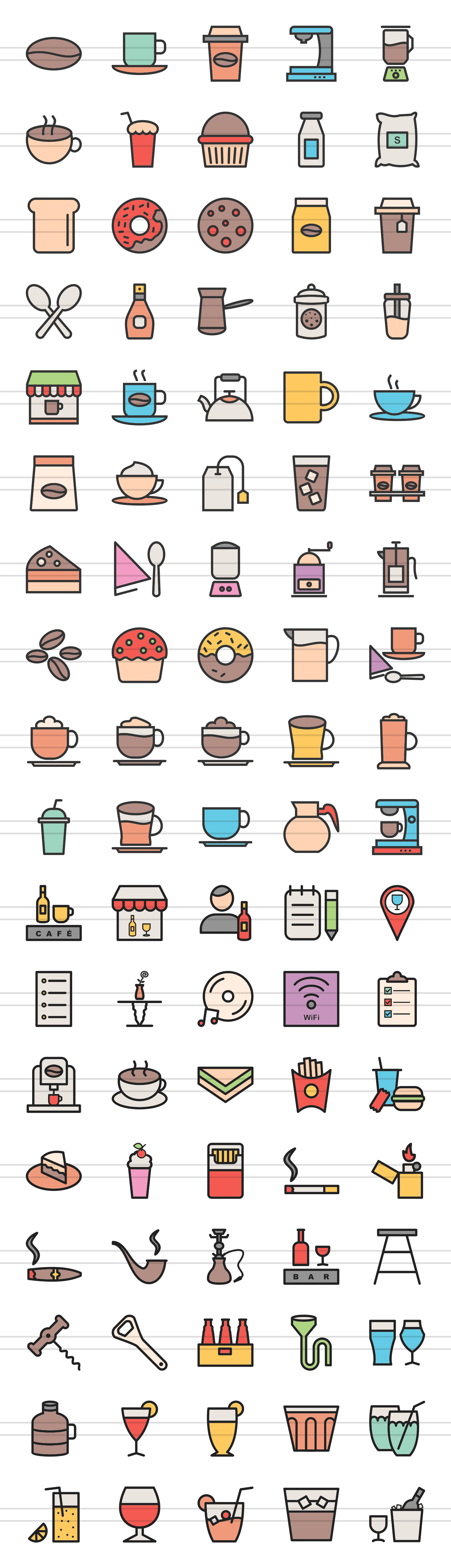 90 Coffee & Cafe Filled Line Icons example image 2