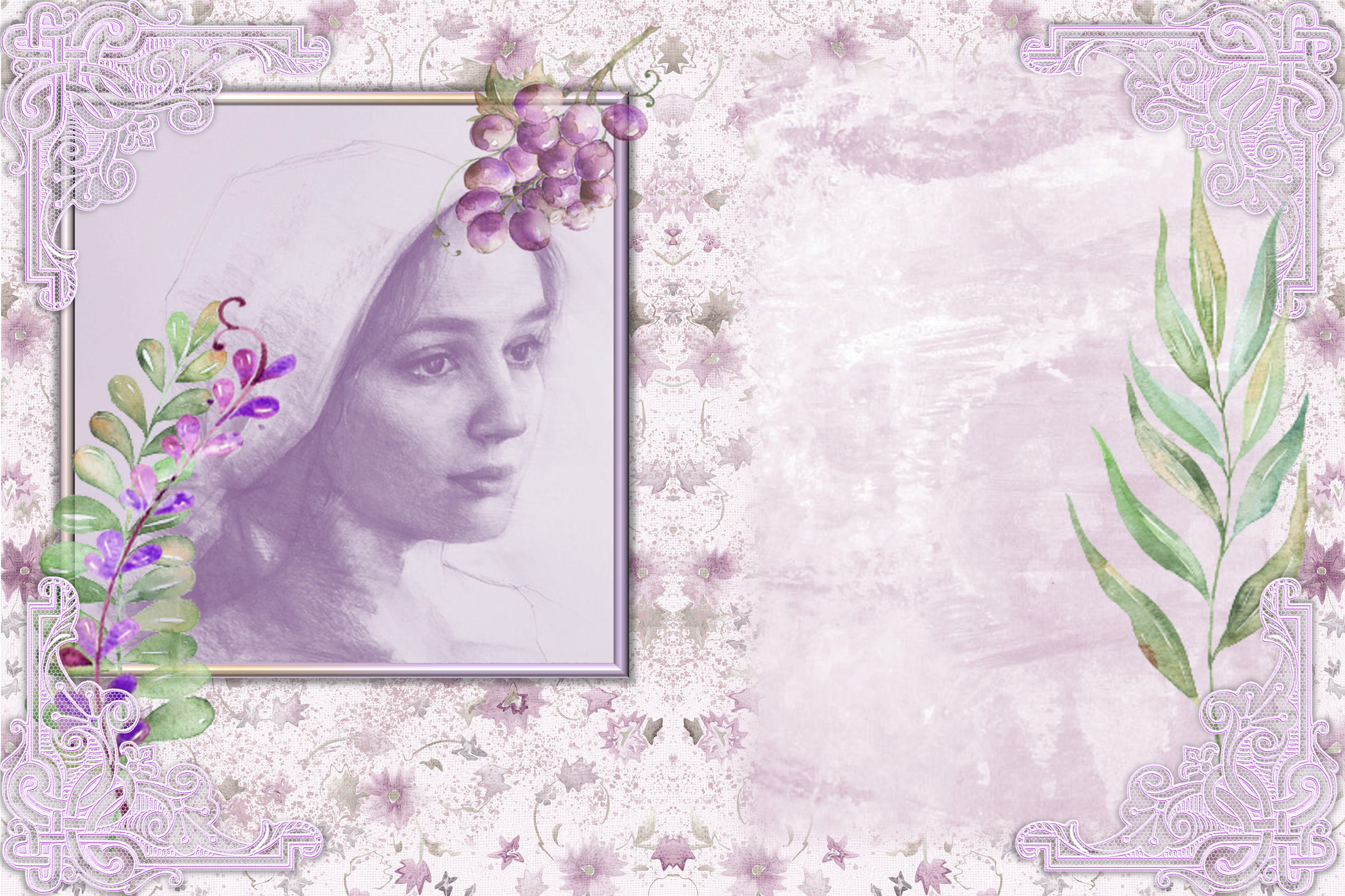 Water colour Lavender Ladies Backgrounds and Clipart example image 4