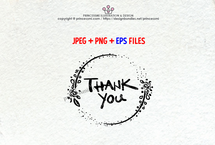 Thank You graphic, with floral clipart, jpg, png & eps file example image 1
