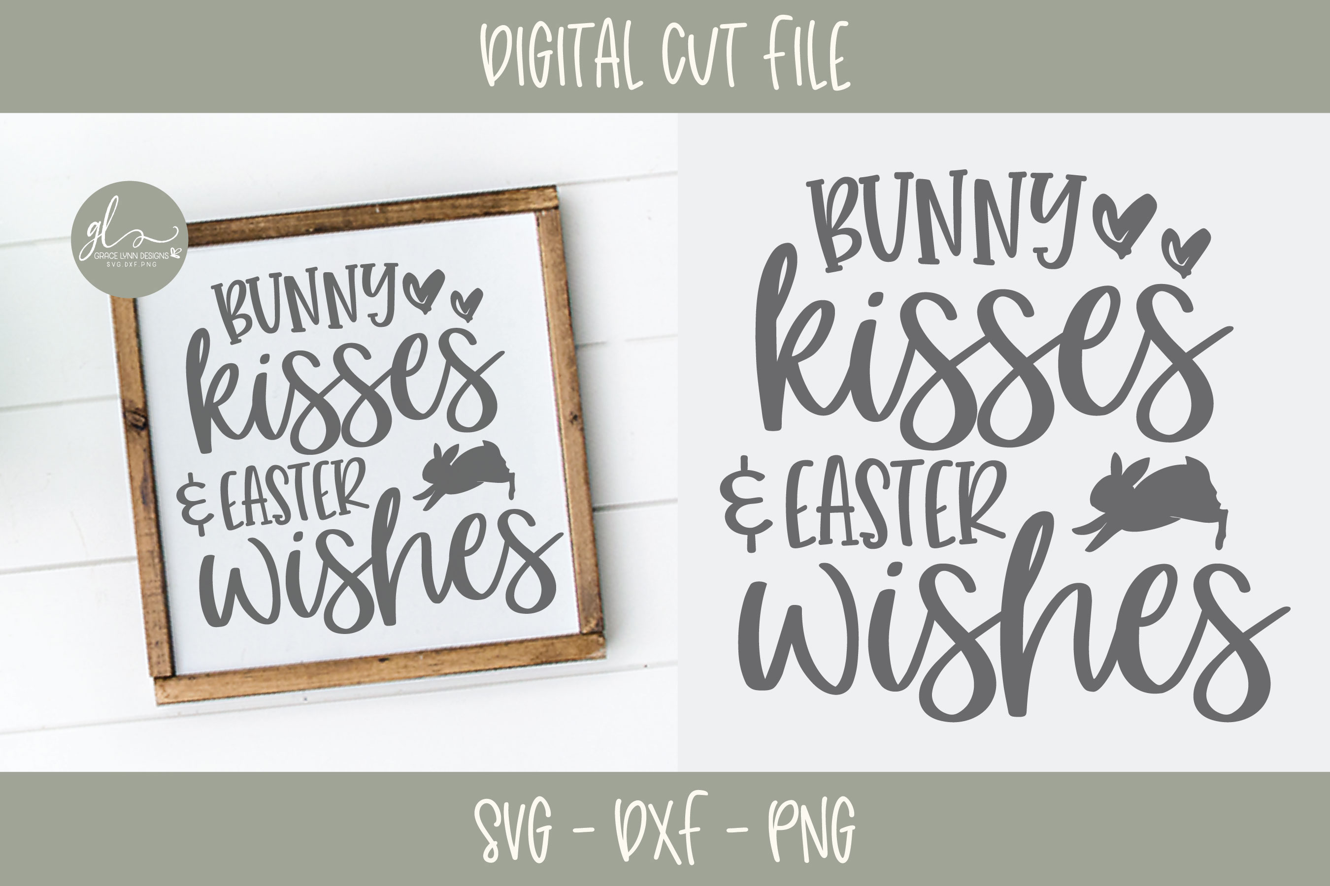 Bunny Kisses And Easter Wishes - Easter SVG example image 1