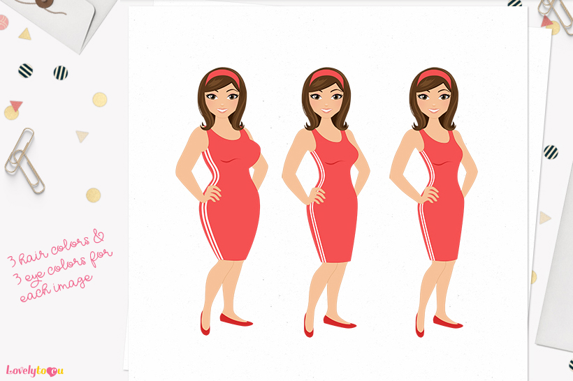Woman weight loss character clip art L087 Willow example image 1